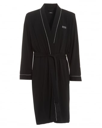 Mens Kimono Cotton Black Dressing Gown