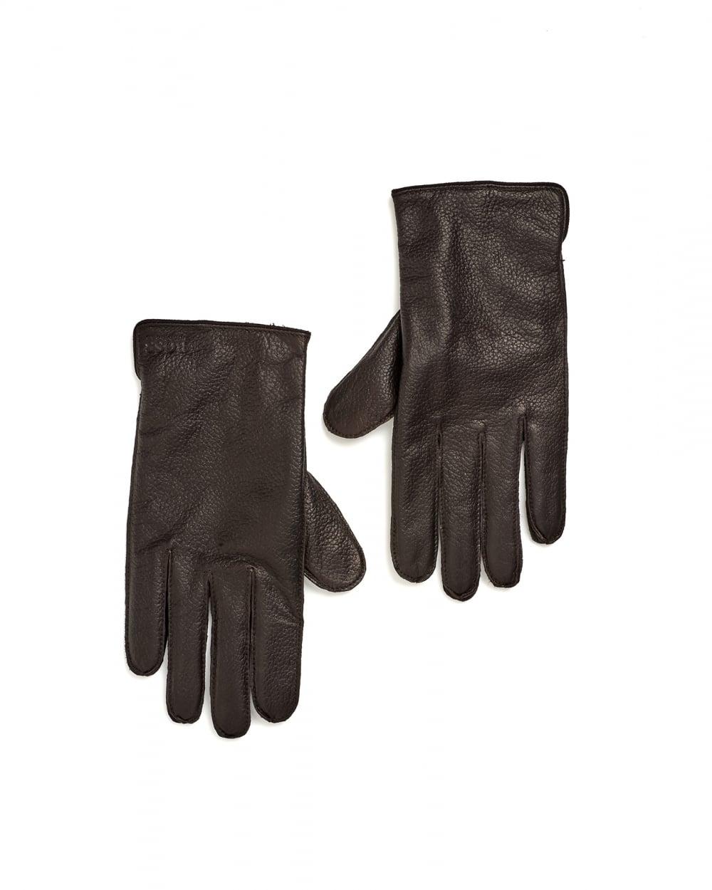 Mens leather gloves boss - Hugo Boss Black Mens Kranto3 Elastic Insert Brown Leather Gloves