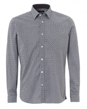 Mens Lance Geometric Print Regular Fit Navy Shirt
