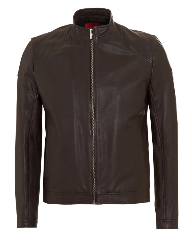 BOSS Business Mens Lesson1 Slim Fit Leather Chocolate Biker Jacket