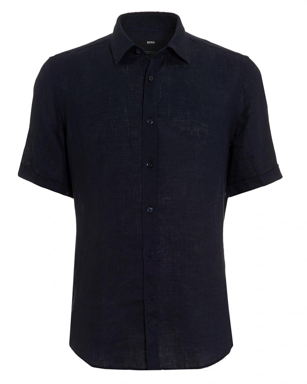 Mens Luka Linen Navy Blue Short Sleeved Shirt