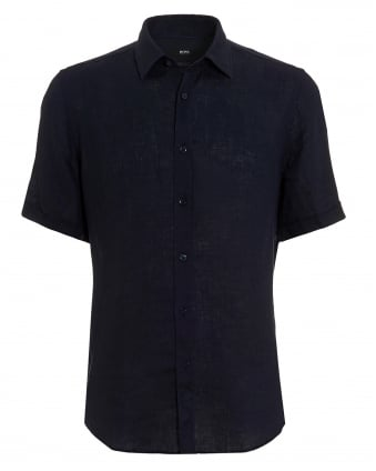 Mens Luka Linen Navy Blue Short Sleeved Shirt