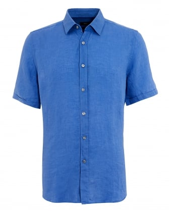 Mens Luka Linen Sky Blue Short Sleeved Shirt