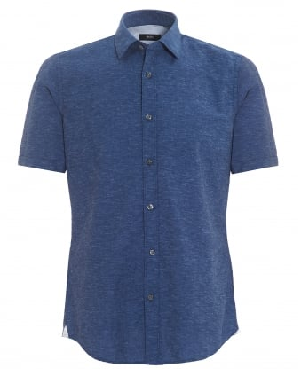 Mens Luka Short Sleeve Cotton Linen Navy Blue Shirt