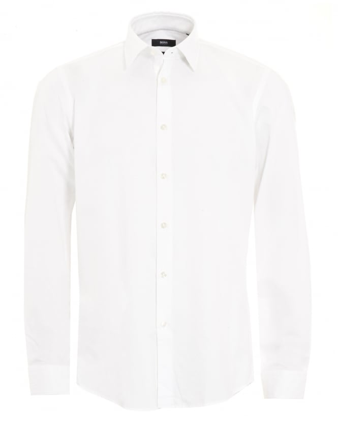 Hugo Boss Black Mens Lukas White Fine Pattern Regular Fit Cotton Shirt