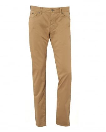 Mens Maine Beige Cotton Satin Jean, 5 Pocket Denim Trousers