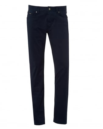 Mens Maine Navy Cotton Satin Jean, 5 Pocket Denim Trousers