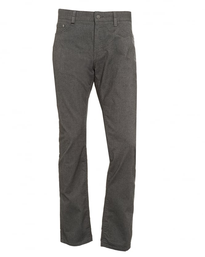 Hugo Boss Black Mens Maine3-20 Trousers, Grey Marl Brushed Cotton Trousers