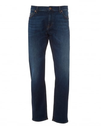 Mens Maine3 Jeans, Whiskered Front Mid Wash Denim