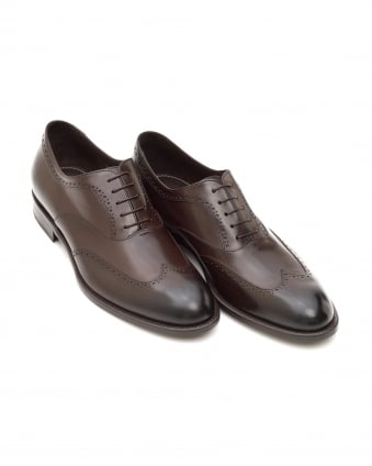 Mens Manhattan Oxford Shoes, Smooth Leather Brown Brogues