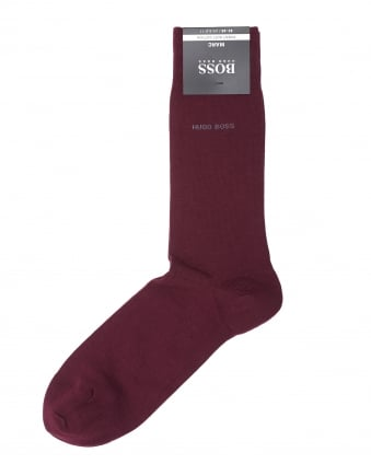 Mens Marc Plain Colour Cotton Burgundy Socks