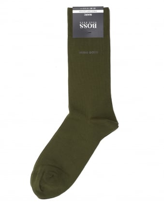 Mens Marc Plain Colour Cotton Olive Green Socks