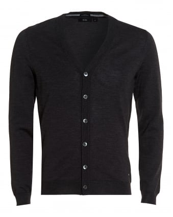 Mens Mardon Cardigan, Slim Fit Charcoal Grey Merino Wool Cardigan