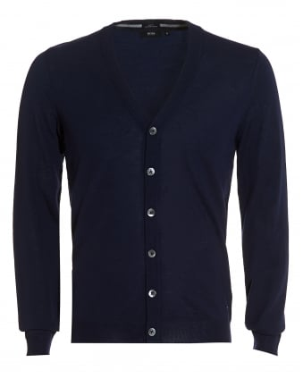 Mens Mardon Cardigan, Slim Fit Navy Blue Merino Wool Cardigan