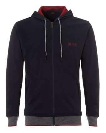 Mens Micro Stripe Hooded Jacket, Zip Up Navy Hoodie
