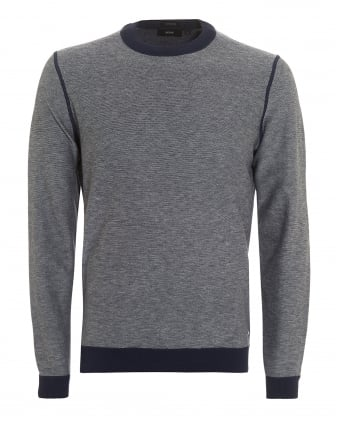 Mens Morelli Knit, Fleck Crew Neck Navy Blue Jumper