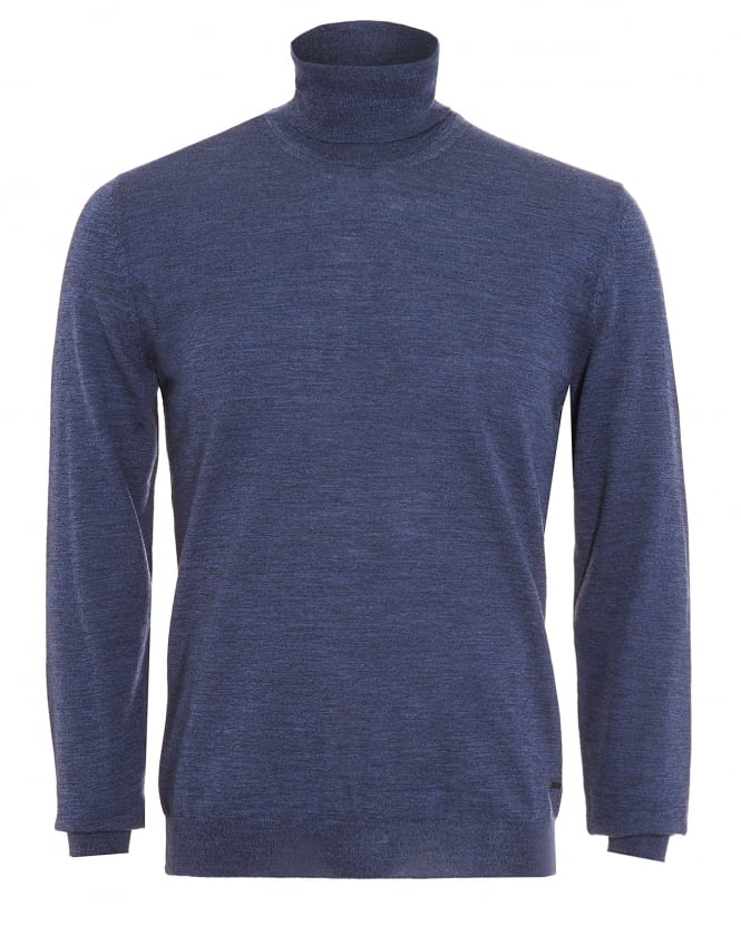 Hugo Boss Black Mens Musso-B Sweater, Slim Fit Blue Polo Neck Jumper