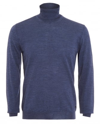 Mens Musso-B Sweater, Slim Fit Blue Polo Neck Jumper