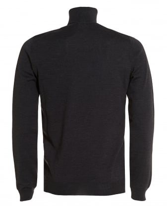 Mens Musso Roll Polo Neck Knit Jumper, Charcoal Grey Merino Sweater