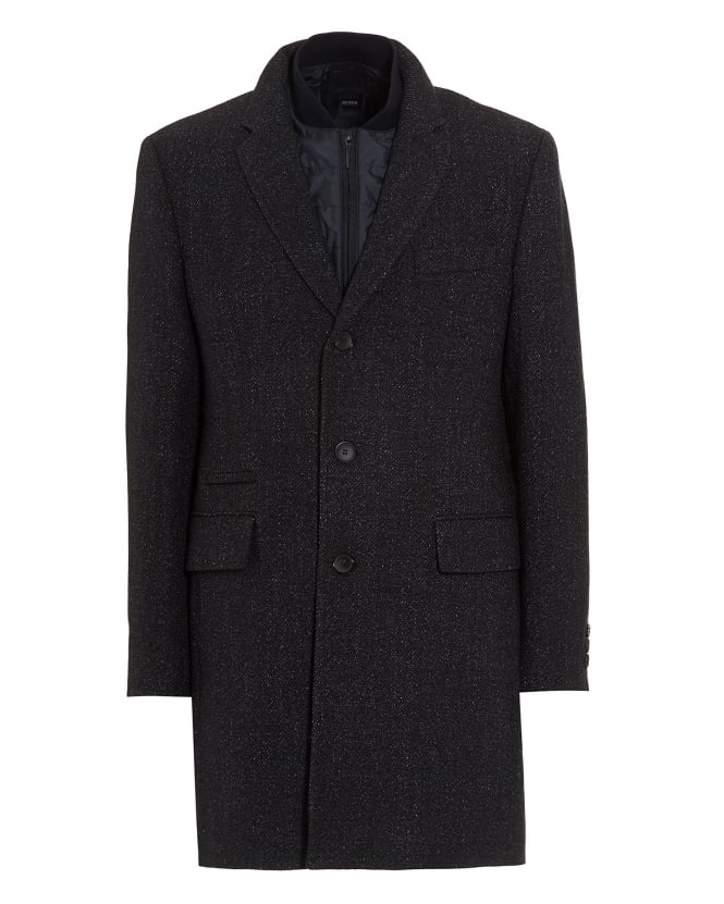 Hugo Boss Black Mens Nadim Detachable Panel Navy Fleck Coat