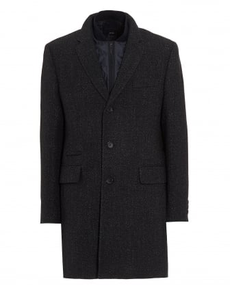 Mens Nadim Detachable Panel Navy Fleck Coat