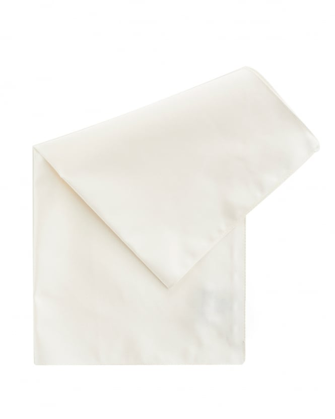 BOSS Business Mens Natural White Silk Pocket Square