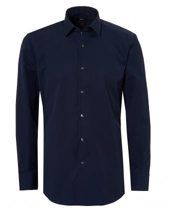 Mens Navy Blue Jerris Slim Fit Inner Trim Shirt