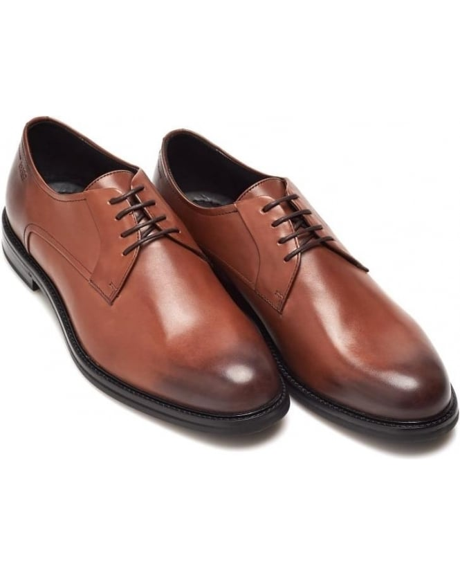 Hugo Boss Black Mens Neoclass_Derb_Bu Shoes, Tan Brown Lace-Ups
