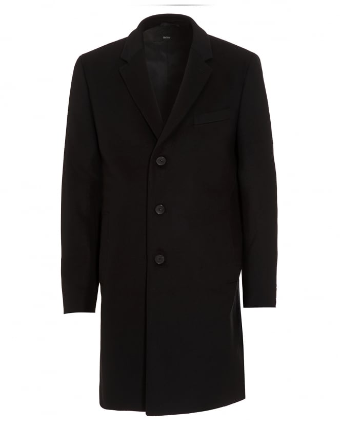Hugo Boss Black Mens Nye New-Wool Blend Black Crombie Coat
