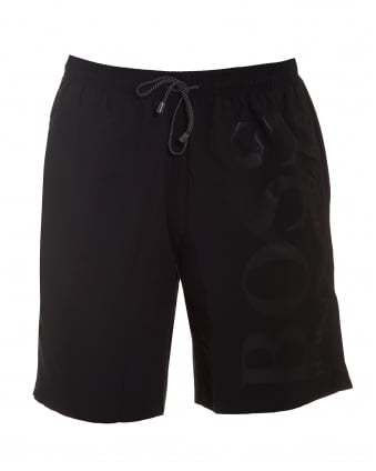 Mens Orca Black Mid Length Swim Shorts