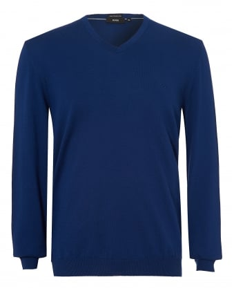 Mens Pacello-L Jumper, Navy Blue V-Neck Sweater