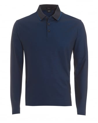 Mens Pado 05 Polo, Long Sleeved Tipped Navy Blue Polo Shirt