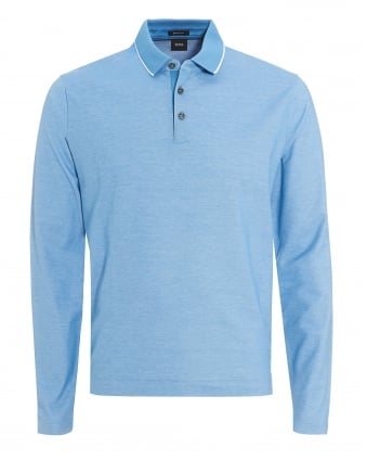 Mens Pado 05 Polo, Long Sleeved Tipped Sky Blue Polo Shirt