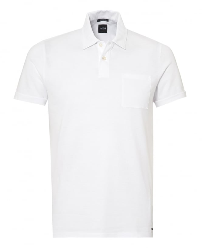 BOSS Business Mens Paino Polo Shirt, Chest Pocket White Polo
