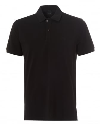 Mens Pallas Polo Shirt, Regular Fit Plain Black Polo