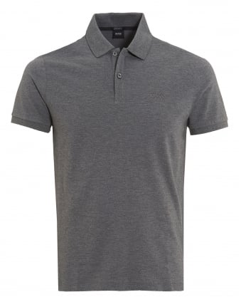 Mens Pallas Polo Shirt, Regular Fit Plain Light Grey Logo Polo