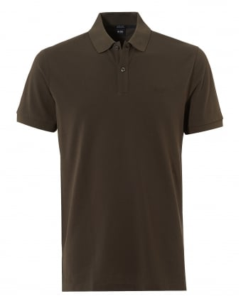 Mens Pallas Polo Shirt, Regular Fit Plain Olive Green Polo