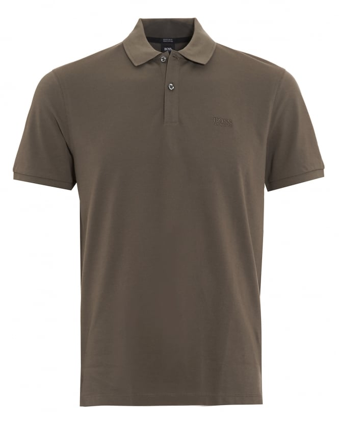 Hugo Boss Black Mens Pallas Regular Fit Olive Green Polo Shirt