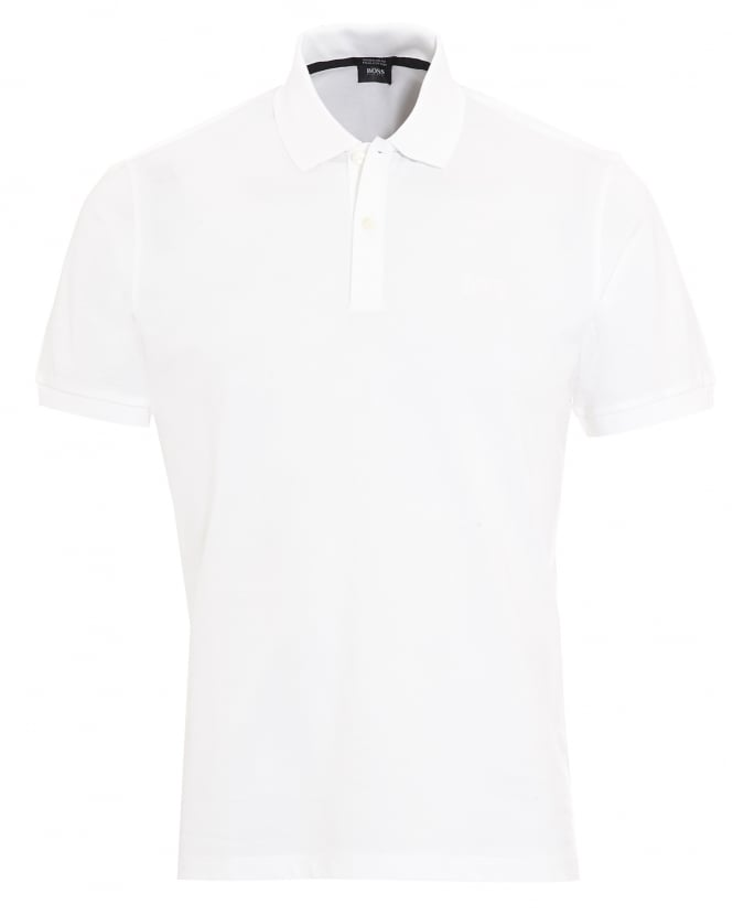 Hugo Boss Black Mens Pallas Regular Fit White Polo Shirt