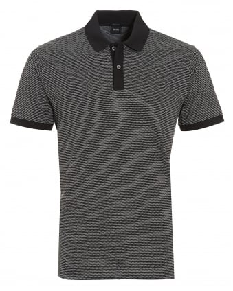 Mens Parlay 08 Polo, Micro Pattern Black Polo Shirt