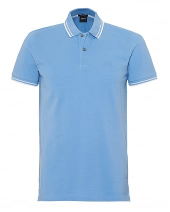 Mens Parlay 16 Polo Shirt, Tipped Sky Blue Polo