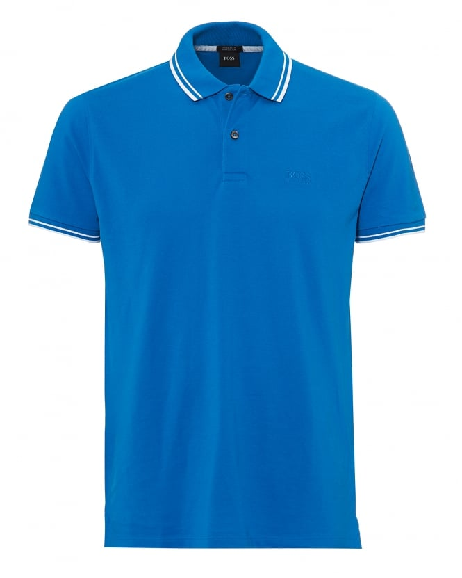 BOSS Business Mens Parlay Polo, Tipped Blue Polo Shirt