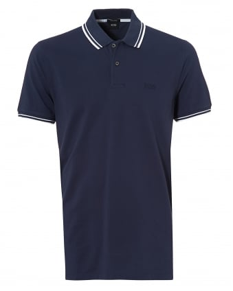 Mens Parlay Polo, Tipped Navy Blue Polo Shirt