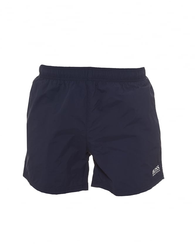 BOSS Business Mens Perch Swim Shorts, Plain Logo Navy Blue Swimming Trunks