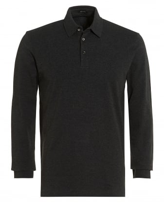 Mens Phillian Long Sleeve Polo, Charcoal Grey Regular Fit Polo Shirt