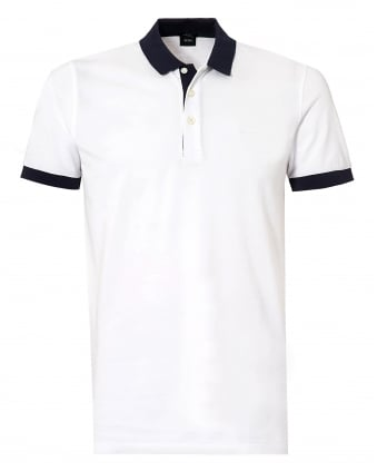 Mens Phillipson Polo Shirt, White Slim Fit Polo