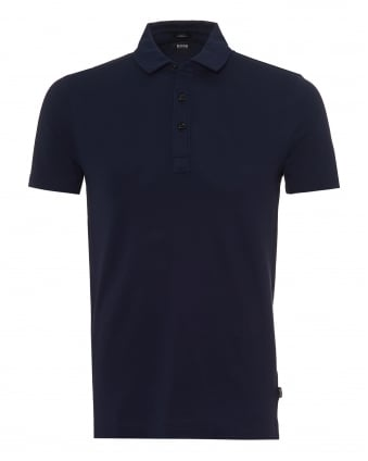 Mens Place Polo Shirt, Fine Piquet Stretch Navy Blue Polo