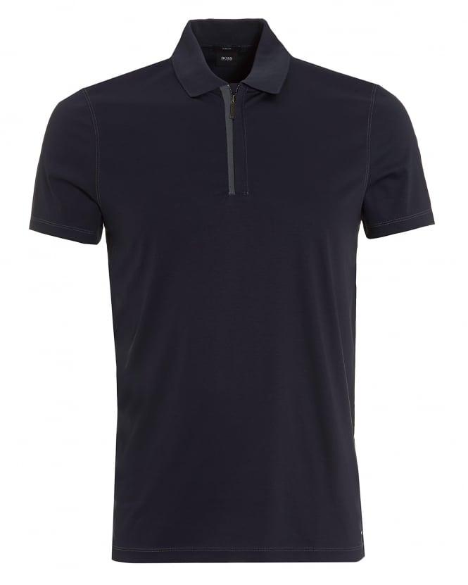 5bec72fde 01753895395 13522 SL98BQ 494006939. hugo boss black mens plater 03 polo  quarter zip slim navy shirt