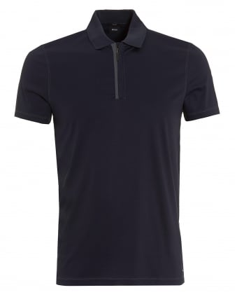 Mens Plater 03 Polo, Quarter Zip Slim Navy Polo Shirt