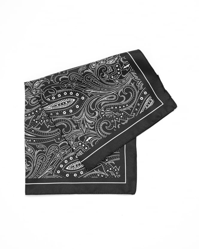 Hugo Boss Black Mens Pocket Square Charcoal Grey Paisley Print Silk Scarf
